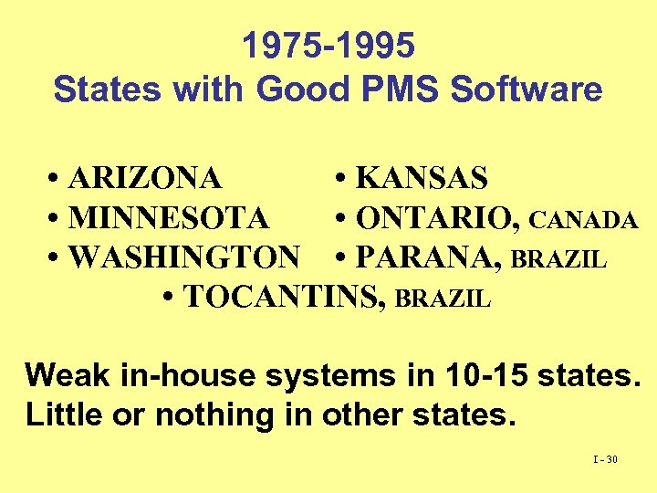 1975 -1995 States with Good PMS Software • ARIZONA • KANSAS • MINNESOTA •