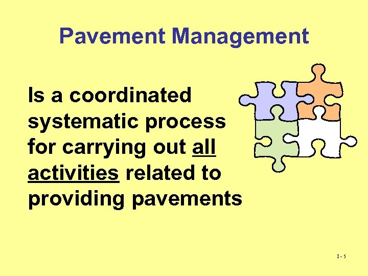 Pavement Management Is a coordinated systematic process for carrying out all activities related to