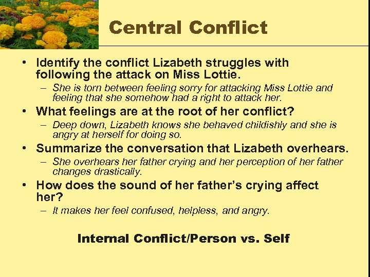 Central Conflict • Identify the conflict Lizabeth struggles with following the attack on Miss