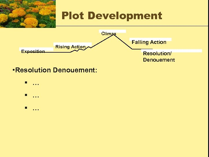 Plot Development Climax Exposition Rising Action • Resolution Denouement: § … § … Falling