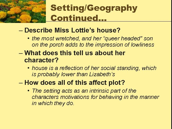 "Setting/Geography Continued… – Describe Miss Lottie's house? • the most wretched, and her ""queer"