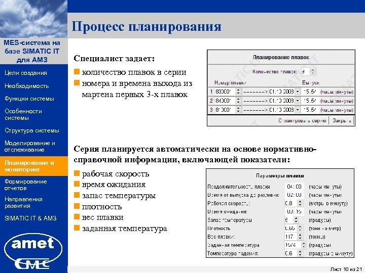 Процесс планирования MES-система на ПК «Заявки» базе SIMATIC IT для АМЗ Цели создания Необходимость