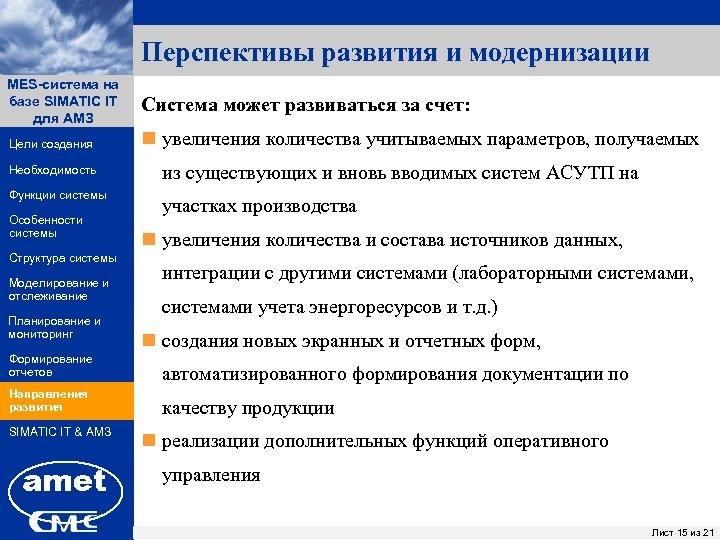 Перспективы развития и модернизации MES-система на ПК «Заявки» базе SIMATIC IT для АМЗ Цели