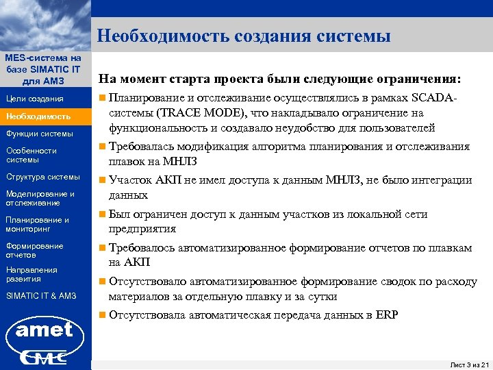 Необходимость создания системы MES-система на ПК «Заявки» базе SIMATIC IT для АМЗ На момент