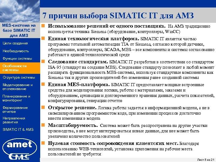 7 причин выбора SIMATIC IT для АМЗ MES-система на ПК «Заявки» базе SIMATIC IT