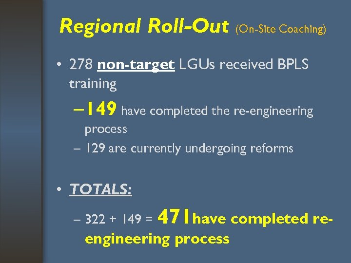 Regional Roll-Out (On-Site Coaching) • 278 non-target LGUs received BPLS training – 149 have