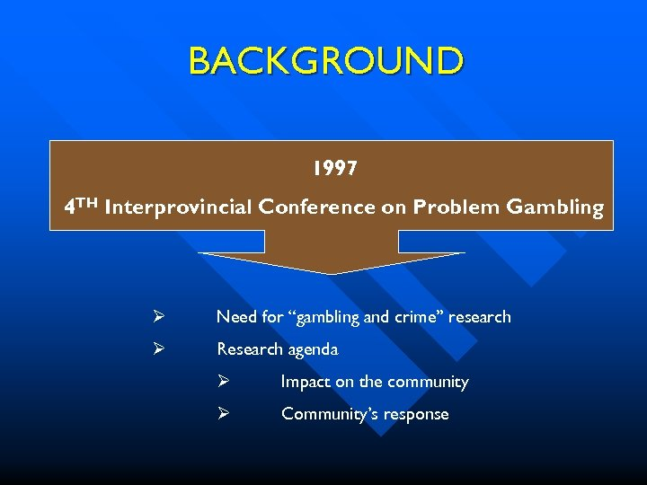 "BACKGROUND 1997 4 TH Interprovincial Conference on Problem Gambling Ø Need for ""gambling and"