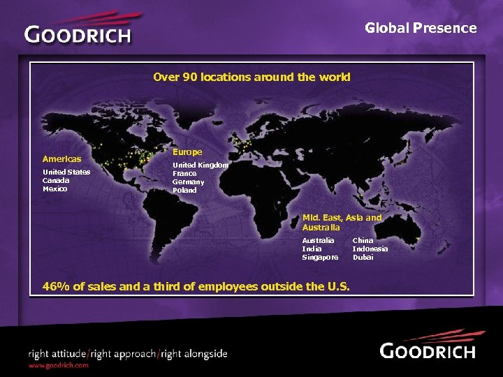 Global Presence Over 90 locations around the world Americas United States Canada Mexico Europe