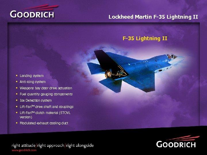 Lockheed Martin F-35 Lightning II § Landing system § Anti-icing system § Weapons bay