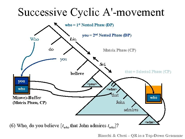Successive Cyclic A'-movement who = 1 st Nested Phase (DP) Who Lic. you =