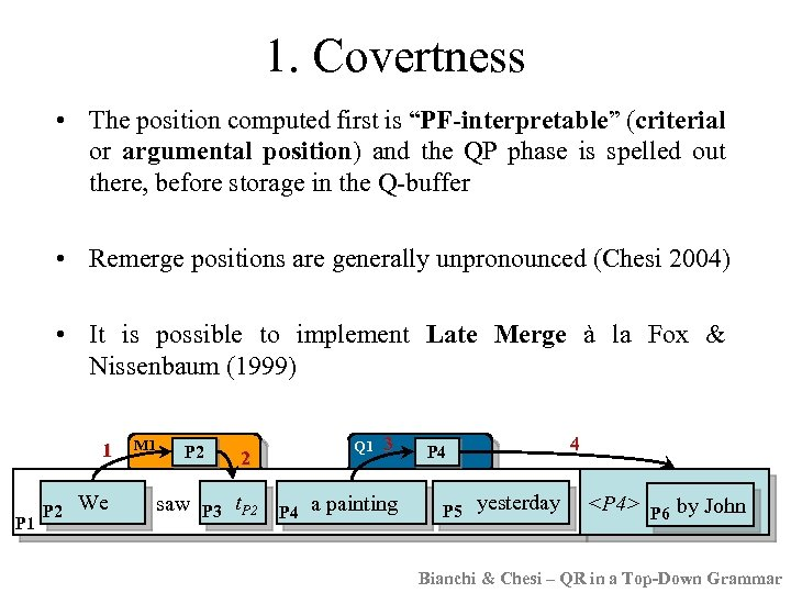 "1. Covertness • The position computed first is ""PF-interpretable"" (criterial or argumental position) and"