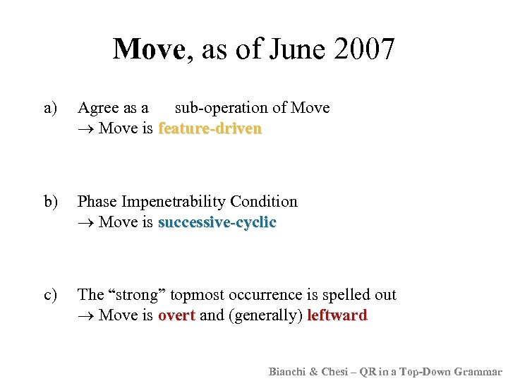 Move, as of June 2007 a) Agree as a sub-operation of Move is feature-driven