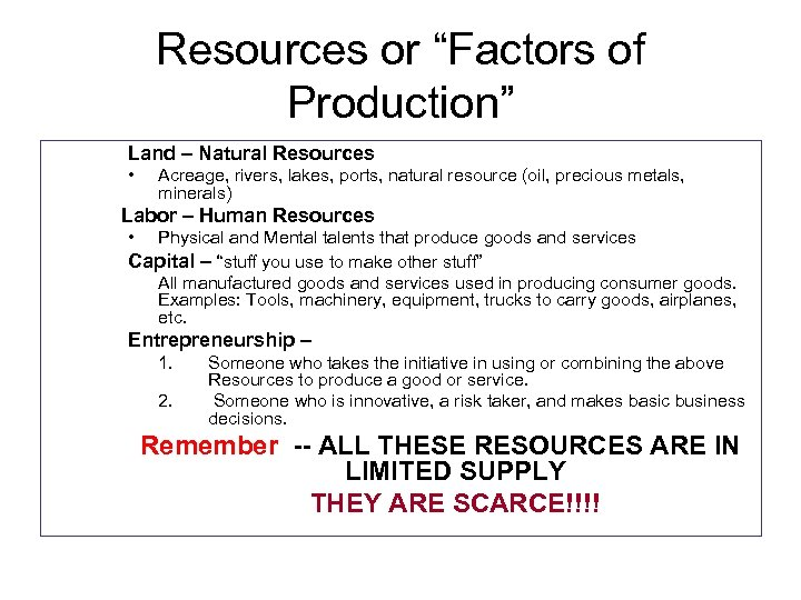 """Resources or """"Factors of Production"""" Land – Natural Resources • Acreage, rivers, lakes, ports,"""