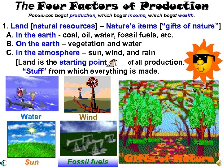 The Four Factors of Production Resources beget production, which beget income, which beget wealth.