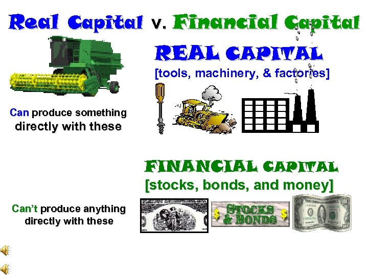 Real Capital v. Financial Capital REAL CAPITAL [tools, machinery, & factories] Can produce something