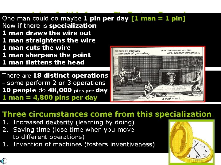 One man Adam Smith's 1 pin per. Pin Factory = 1 pin] could do