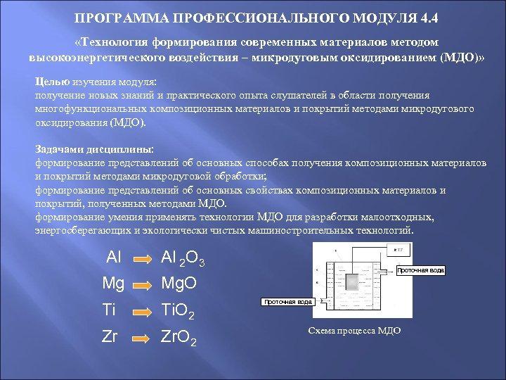 ПРОГРАММА ПРОФЕССИОНАЛЬНОГО МОДУЛЯ 4. 4 «Технология формирования современных материалов методом высокоэнергетического воздействия – микродуговым