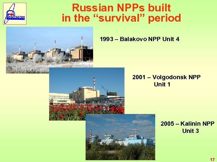 "Russian NPPs built in the ""survival"" period 1993 – Balakovo NPP Unit 4 2001"