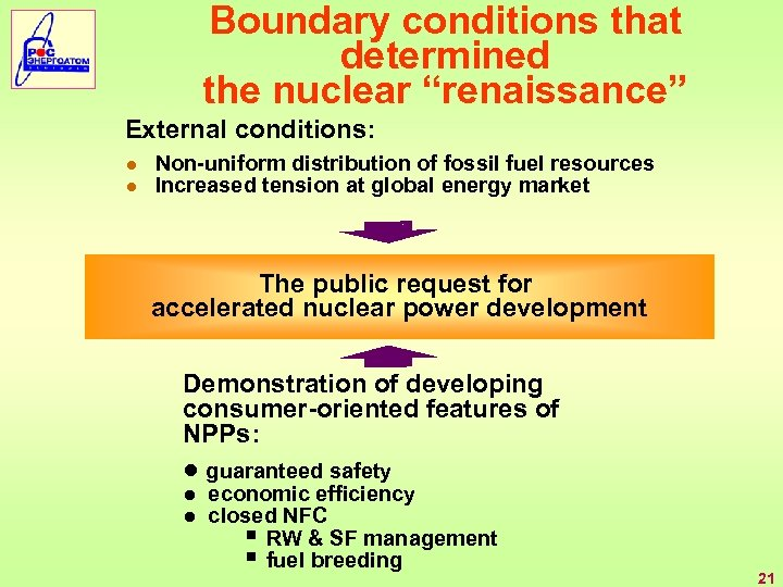 "Boundary conditions that determined the nuclear ""renaissance"" External conditions: ● Non-uniform distribution of fossil"