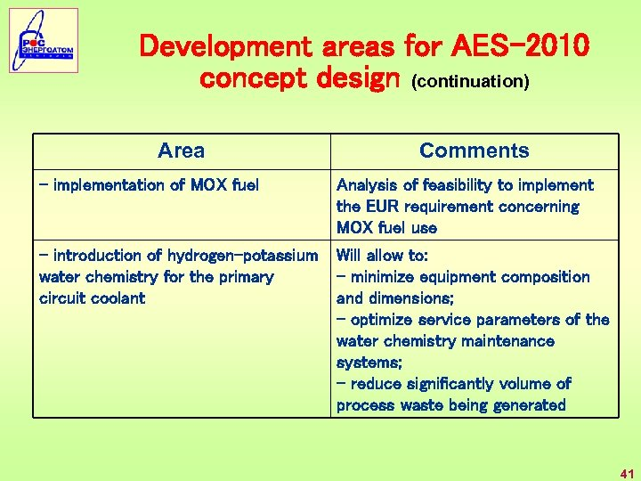Development areas for AES-2010 concept design (continuation) Area Comments - implementation of MOX fuel