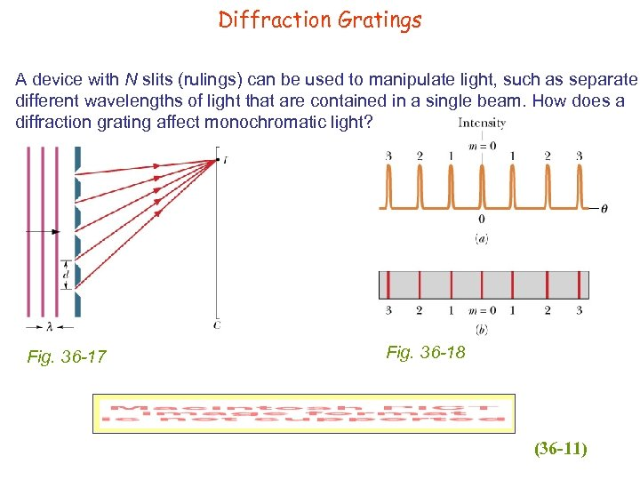 Diffraction Gratings A device with N slits (rulings) can be used to manipulate light,