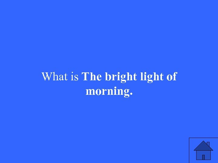 What is The bright light of morning.