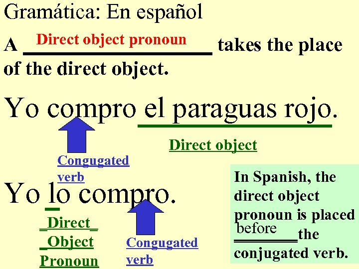 Gramática: En español Direct object pronoun A __________ takes the place of the direct