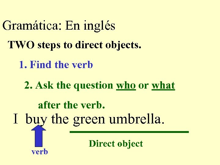 Gramática: En inglés TWO steps to direct objects. 1. Find the verb 2. Ask