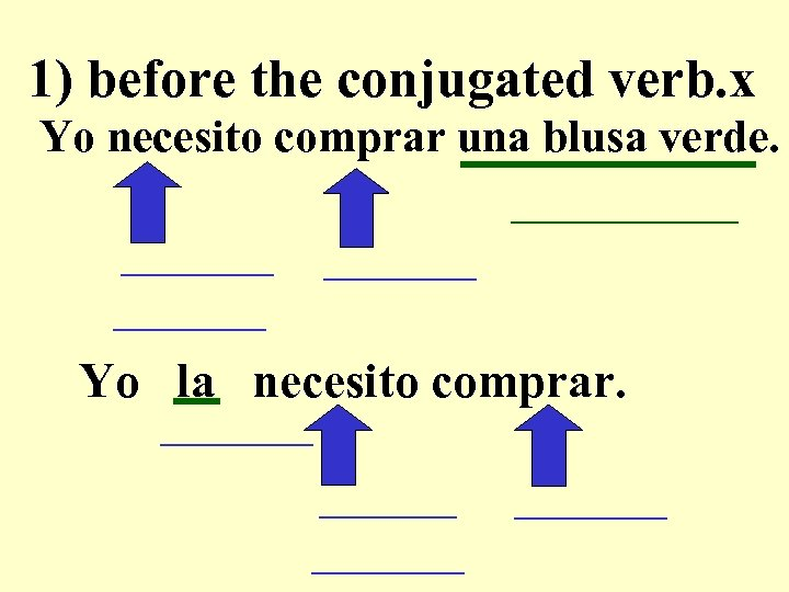 1) before the conjugated verb. x Yo necesito comprar una blusa verde. __________ _____