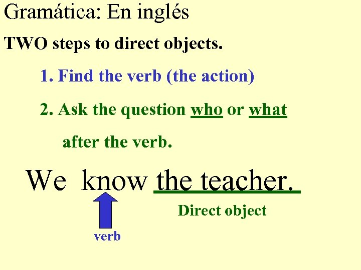 Gramática: En inglés TWO steps to direct objects. 1. Find the verb (the action)