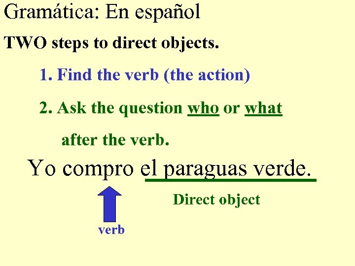 Gramática: En español TWO steps to direct objects. 1. Find the verb (the action)