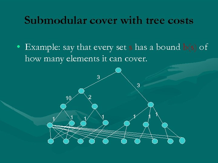 Submodular cover with tree costs • Example: say that every set s has a
