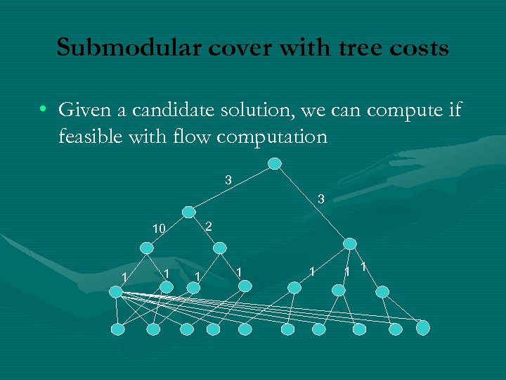 Submodular cover with tree costs • Given a candidate solution, we can compute if