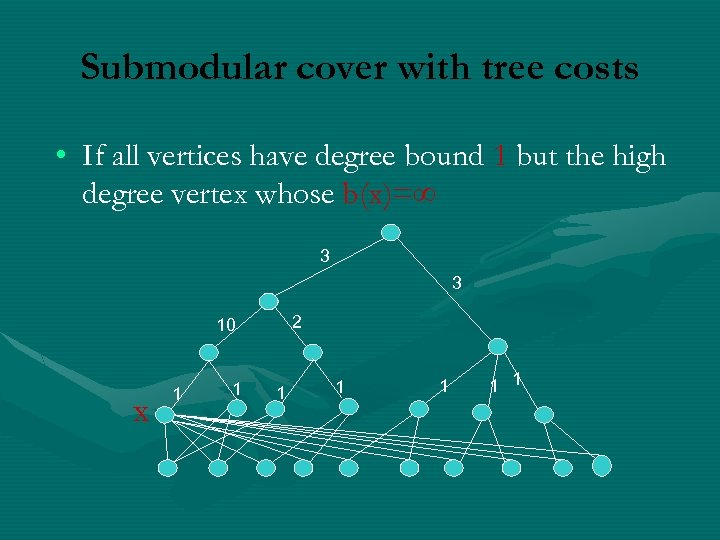 Submodular cover with tree costs • If all vertices have degree bound 1 but