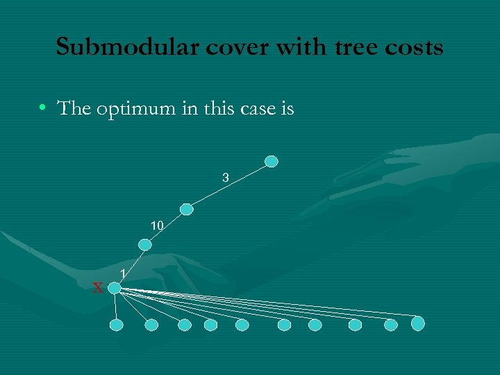 Submodular cover with tree costs • The optimum in this case is 3 10