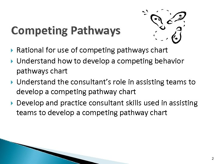 Competing Pathways Rational for use of competing pathways chart Understand how to develop a