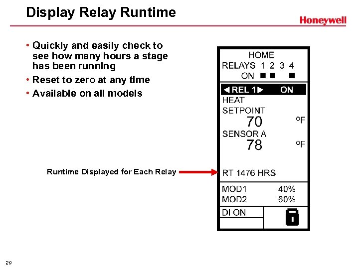 Display Relay Runtime • Quickly and easily check to see how many hours a