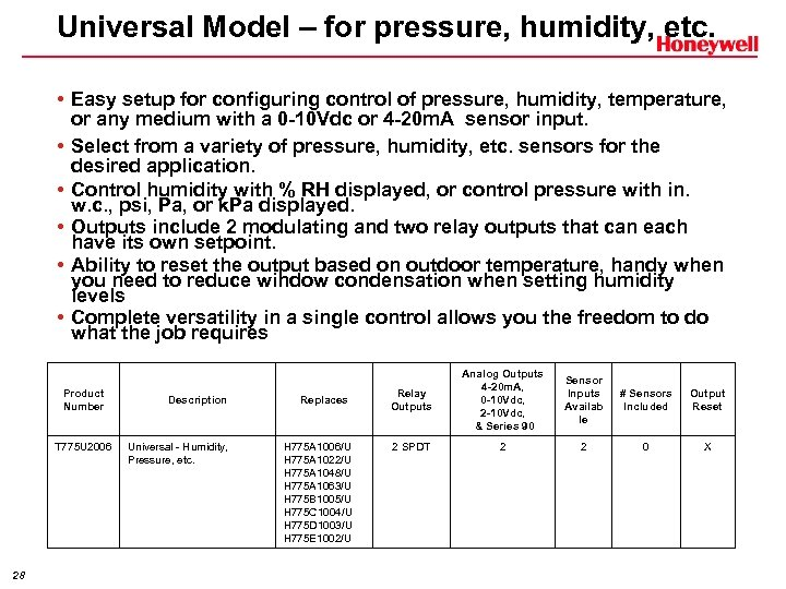 Universal Model – for pressure, humidity, etc. • Easy setup for configuring control of