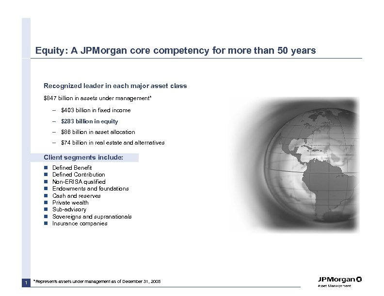 Equity: A JPMorgan core competency for more than 50 years Recognized leader in each