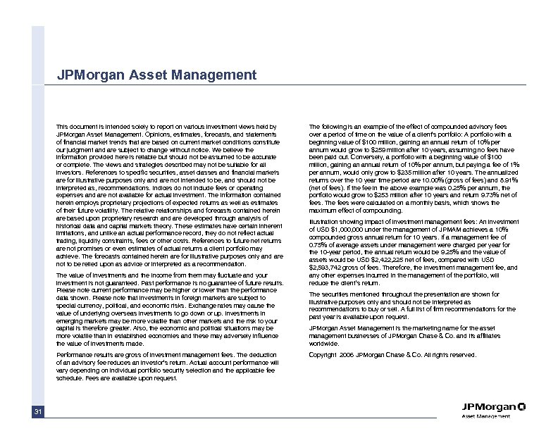 JPMorgan Asset Management This document is intended solely to report on various investment views
