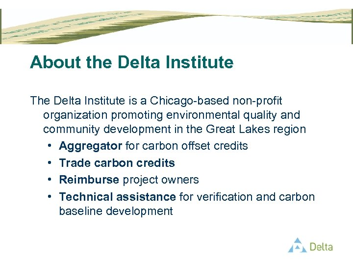 About the Delta Institute The Delta Institute is a Chicago-based non-profit organization promoting environmental
