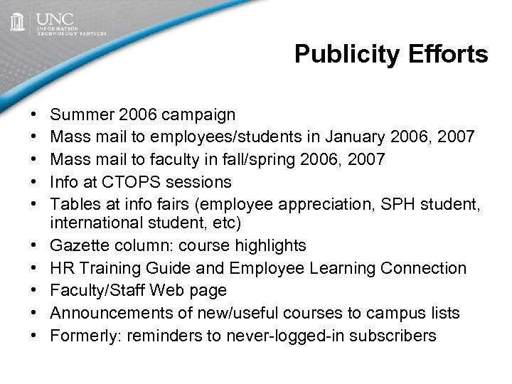 Publicity Efforts • • • Summer 2006 campaign Mass mail to employees/students in January
