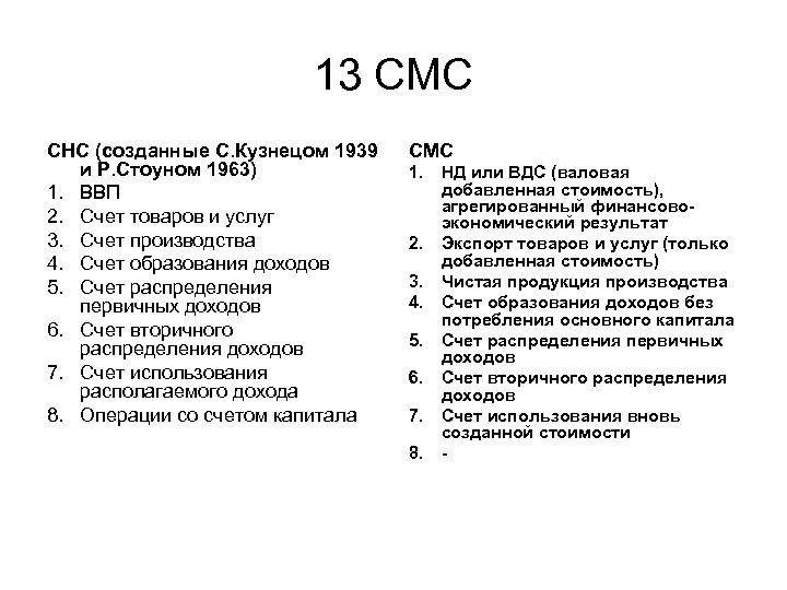 13 СМС СНС (созданные С. Кузнецом 1939 и Р. Стоуном 1963) 1. ВВП 2.