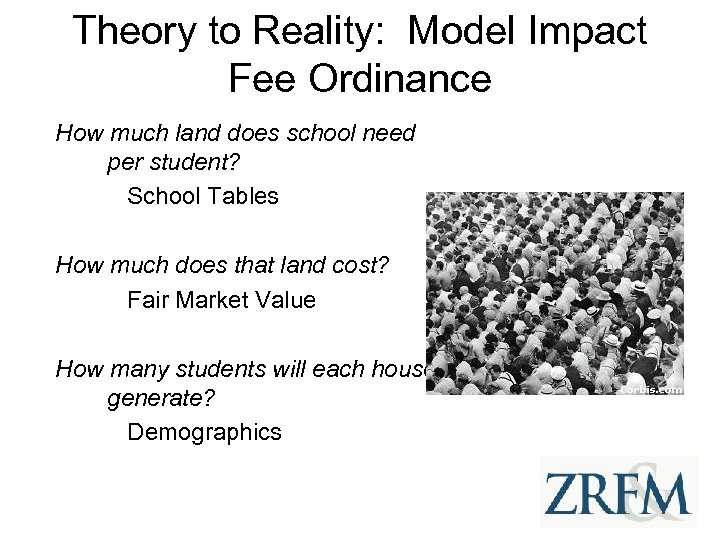 Theory to Reality: Model Impact Fee Ordinance How much land does school need per
