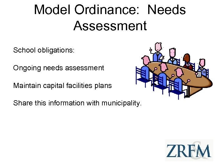 Model Ordinance: Needs Assessment School obligations: Ongoing needs assessment Maintain capital facilities plans Share
