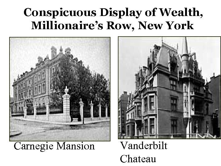 Conspicuous Display of Wealth, Millionaire's Row, New York Carnegie Mansion Vanderbilt Chateau