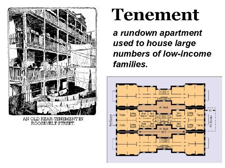 Tenement a rundown apartment used to house large numbers of low-income families.