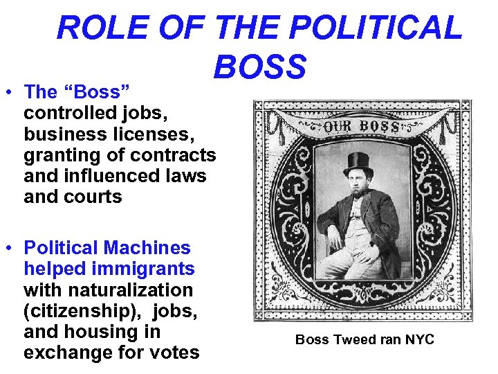 """ROLE OF THE POLITICAL BOSS • The """"Boss"""" controlled jobs, business licenses, granting of"""