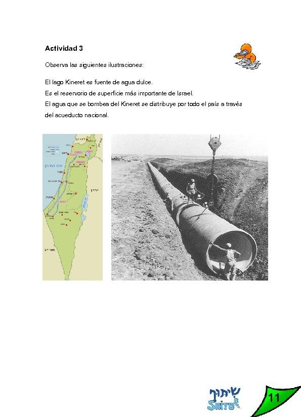Actividad 3 Observa las siguientes ilustraciones: El lago Kineret es fuente de agua dulce.