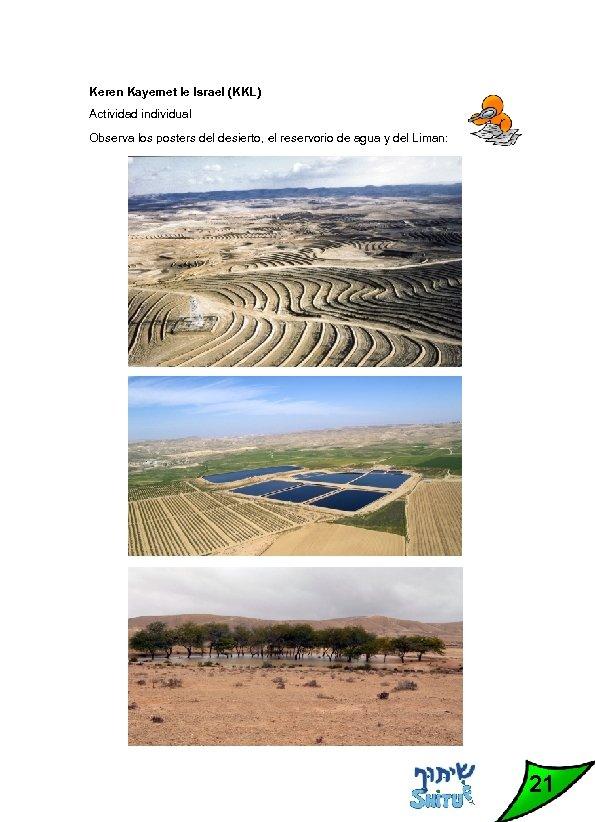 Keren Kayemet le Israel (KKL) Actividad individual Observa los posters del desierto, el reservorio